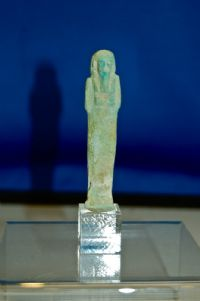 A nicely detailed Ancient Egyptian Late Dynastic period Faience Ushabti figure. SOLD